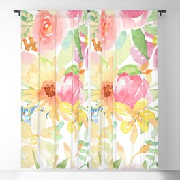 Colorful watercolors flowers pattern pink yellow and blue Blackout Curtain