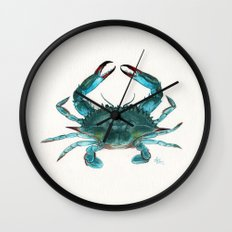 Blue Crab Watercolor Wall Clock