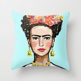 Frida Aqua Throw Pillow