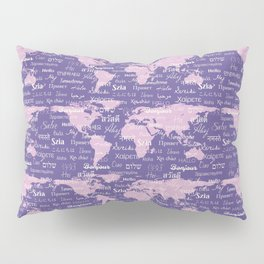 Hello World Languages Ultra Violet Pillow Sham