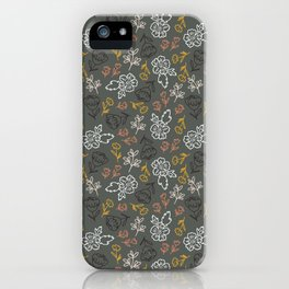 Tossed Spring Florals and Leaves iPhone Case