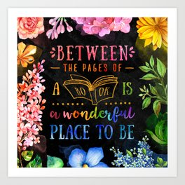 Between the pages - black Art Print