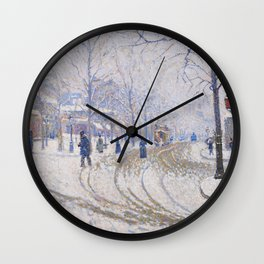 Snow, Boulevard de Clichy, Paris Wall Clock