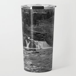 Redrock Falls bw - Glacier National Park Travel Mug