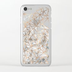 Marble polygon pattern Clear iPhone Case