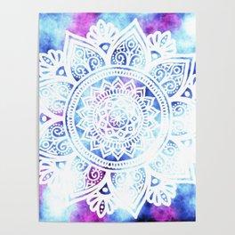 Purple and Blue Tied-Dye Mandala - LaurensColour Poster