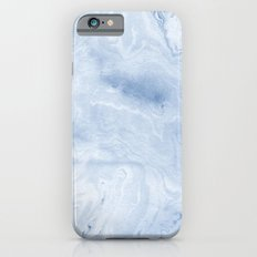 Yasuko - spilled ink japanese monoprint marble paper cell phone case with marble pattern blue pastel iPhone 6 Slim Case