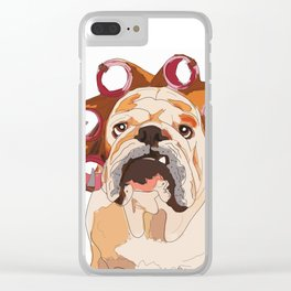 English Bulldog-Mornings are not my cup of coffee! Clear iPhone Case