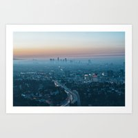 Morning smog and the 101 Freeway, Los Angeles, California, USA. Art Print