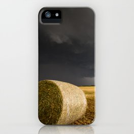Spinning Gold - Storm Over Hay Bales in Kansas Field iPhone Case