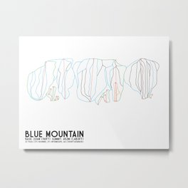 Blue Mountain, Ontario, Canada - Minimalist Trail Art Metal Print