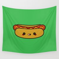 hot dog Wall Tapestries featuring Yummy kawaii hot dog by Holly