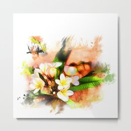 Beautiful tropical flowers on white Metal Print