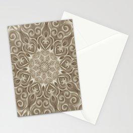 Beige swirl mandala Stationery Cards
