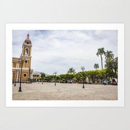 Granada Cathedral at the Parque Colon de Granada in Nicaragua Art Print