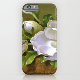 Magnolias On Gold Velvet Cloth - Martin Johnson Heade iPhone Case