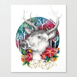 Christmas Reindeer / Deer Painting Drawing Canvas Print