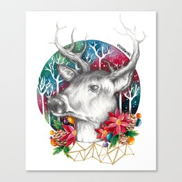 Christmas Reindeer / Deer Painting Drawing Canvas Print