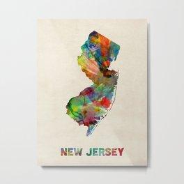 New Jersey Watercolor Map Metal Print