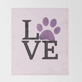 Love is a Four Letter Word - purple paw Throw Blanket