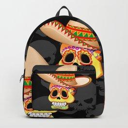 Mexico Sugar Skull with Sombrero Backpack