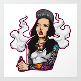 Vape Queen Illustration | Tattooed Women Vaping Art Print