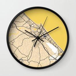 Rimini Yellow City Map Wall Clock