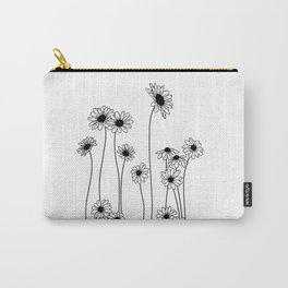 Minimal line drawing of daisy flowers Carry-All Pouch