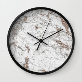 White frost - rose gold marble Wall Clock