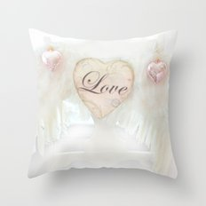 Dreamy Ethereal White Angel Wings Love Heart Print and Love Home Decor Throw Pillow