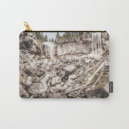 Rock Land Waterfall // Dull High Contrast Gray Tone Wilderness Photograph Carry-All Pouch