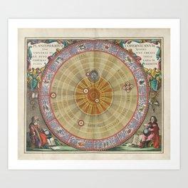 Keller's Harmonia Macrocosmica - Planisphere of Copernicus 1661 Art Print