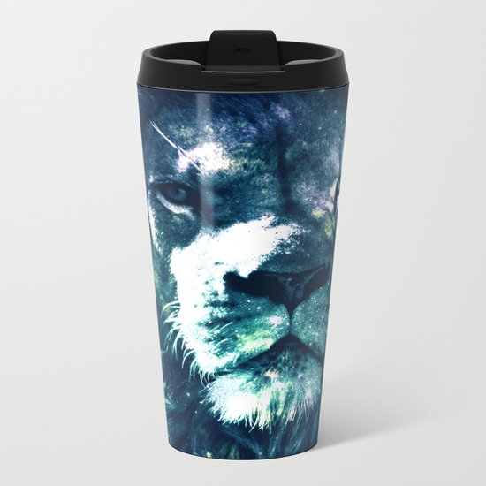 Lion Leo Teal Metal Travel Mug