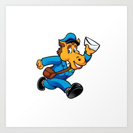 Horse postman character delivering mail Art Print