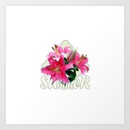 Summer pink lilies Art Print