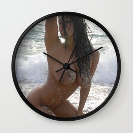 9978-SS Beautiful Naked Woman Nude Beach Sand Surf Big Breasts Long Black Hair Sexy Erotic Art Wall Clock
