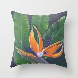 Strelitzia. Bird of Paradise Throw Pillow