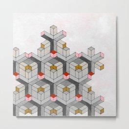 Cubed Pink Abstract Geometric Modern Art Metal Print