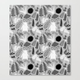PNW Forest in Black + Gray + White Canvas Print