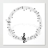 music notes Canvas Prints featuring music notes by Impurist