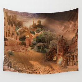 Desert paradise on the edge of Hell - Sandstorm Wall Tapestry