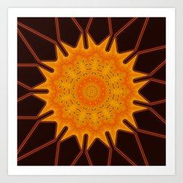 New Media Art Marigold on Mocha Kaleidoscope  Art Print