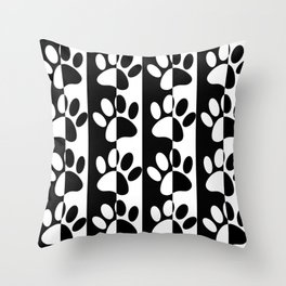 Black And White Dog Paws And Stripes Throw Pillow