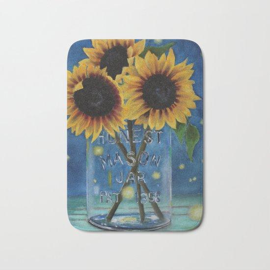 Lightning Bugs and Sunflowers Bath Mat