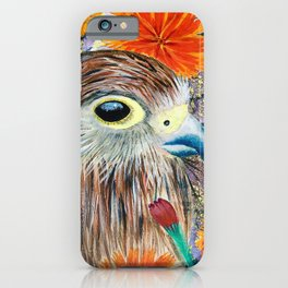 Baby Hawk with orange flowers iPhone Case