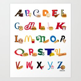 Fast Food Alphabet Art Print