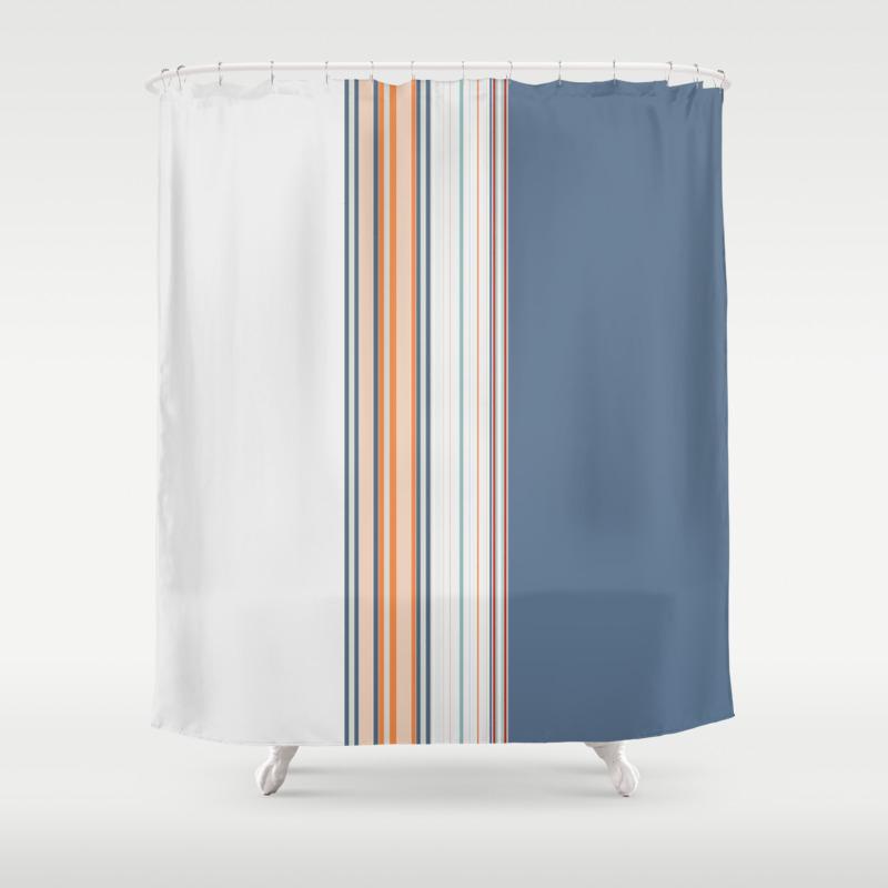 Bold Powder Blue Stripes Shower Curtain