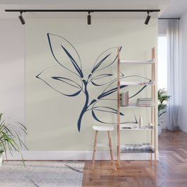 Classic Leaves navy and white Wall Mural