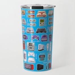 Pixel Art Consoles in Blue Travel Mug