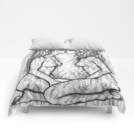 Sexual Energy b&w - Erotic Art Illustration Nude Sex Sexual Love Lovers Relationship Couple Lesbian Comforters